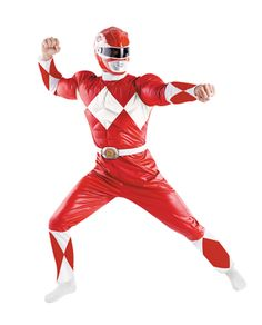 This classic version Red Ranger Muscle Costume includes red and white jumpsuit with muscle torso, helmet and belt buckle. Fits adult sizes 42-46.