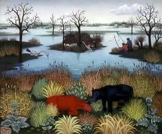 Landscape Ivan Generalic Stylization This painting consists of simple shapes. Landscape Main of the painting is the river. Other visual elements make the river more beautiful. Art Gallery, Modern Art, Art Painting, Art Images, Naive Art, Illustration Art, Art, All Art, Landscape Art