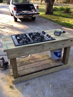 find a second hand stovetop and make an outdoor grill out of it!