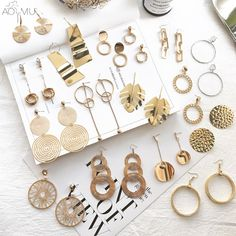 """Universe of goods - Buy """"AOMU 2018 New Vintage Exaggerate Big Circle Dangle Earrings Matte Gold Drop Earrings For Women Long Earring Party Jewelry Brinco"""" for only USD. Bar Stud Earrings, Bird Earrings, Gold Drop Earrings, Sterling Silver Earrings Studs, Crystal Earrings, Pearl Studs, Geode Jewelry, Jewellery, Jewelry Rings"""
