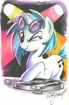 Vinyl Scratch marker sketch, My Little Ponyby ~andypriceart