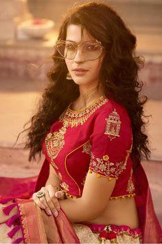 Buy Online Golden and Ruby Red Silk Lehenga Choli - Craftune Fashion Lehenga Style, Pink Lehenga, Lehenga Choli, Choli Blouse Design, Sari Blouse Designs, Red Silk, Pink Silk, Silk Dupatta, Ruby Red