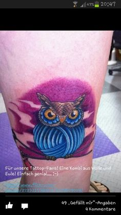 _ yarn owl tattoo by chaigwenlatte owl purplesky, Bird,New School Owl Tattoo Design, Tattoo Designs, Tattoo Ideas, Boy Tattoos, Small Tattoos, Tatoos, Piercing, Crochet Tattoo, Crochet Humor