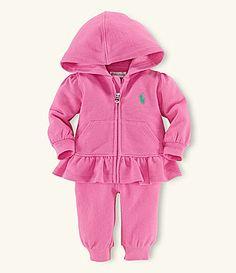 Ralph Lauren Childrenswear 39 Months Terrycloth ZipFront Hoodie and Pant Set #Dillards
