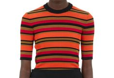 Givenchy orange striped rib-knit top