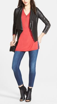 An edgy leather jacket is an easy way to transition a day time look for a fun night out with friends.