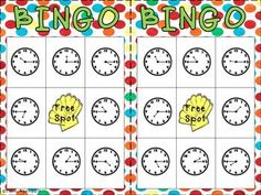 Telling Time Bingo (part of a telling time unit) $