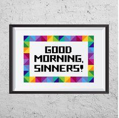 Good Morning, Sinners! - Modern Cross Stitch PDF - Instant Download