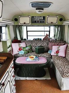 Vintage camper interior - cabinet paint! Awesome, How rad to travel across country with your best gal pal in this camper! | campinglivezcampinglivez