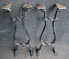 ornate machine age industrial cast iron table legs bases