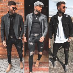 visit our website for the latest men's fashion trends products and tips . Stylish Men, Men Casual, Dungaree Jeans, What Should I Wear Today, All Black Looks, Casual Outfits, Fashion Outfits, Fashion Trends, All Black Outfit