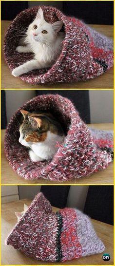 Crochet Cat cave Free Pattern - Crochet Cat House Patterns #cathousehandmade