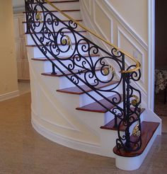 Your custom iron stairs can change the whole mood of your home. Wrought Iron Stair Railing, Staircase Railings, Banisters, Stairways, Railing Design, Staircase Design, Iron Gates, Iron Doors, Casa Magnolia