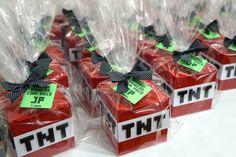 Lembrancinhas lindas e embaladas para a festa! #minecraft