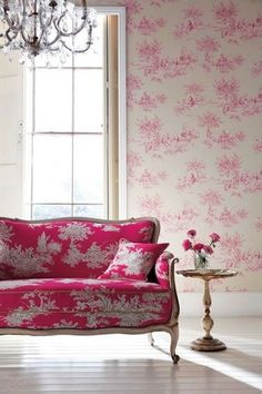 Pink sofa and wall paper. Bedroom Furniture Inspiration, Pink Room, Decorating Your Home, Harlequin Fabrics, Harlequin Wallpaper, Toile Wallpaper, Elegant Home Decor, Elegant Homes, February Colors