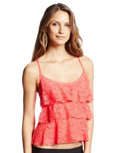 f07b4205b7 Jones New York Women s Tiered Ruffle Cami Tankini Top
