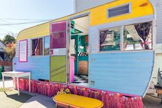 "This colourful delight is a 1964 Kenskill camper called the <a href=""https://www.airbnb.com.au/rooms/1836865"">""Muffin Mansion"" </a>  which used to be a cupcake food truck in another life. Now, after a re-design of the interior and some paint, it can be rented out online as a holiday home."