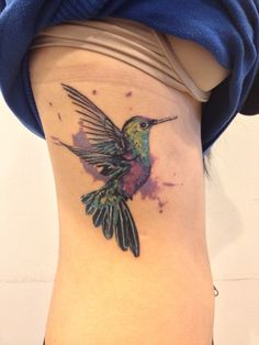 hummingbird watercolor tattoo