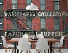 Vintage Red Brick Building Wall Mural from Eazywallz | A vintage look on your walls!