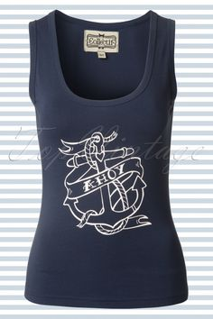 Collectif Clothing - 50s Anchor Ahoy Top in Navy