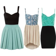 Cute crop tops+skirts for summer!