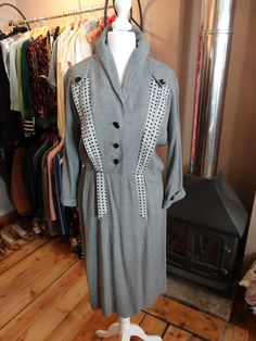 1940's Dress  40s Crepe Dress  Wool Crepe by PepperLaneExclusives, $192.57