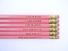 Cute. And PINK!! :: 'She Is...' Pencils by Amanda Catherine Designs