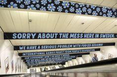 Signs at Ostermalmstorg subway station in Stockholm, Sweden. (Bertil Ericson / Reuters)