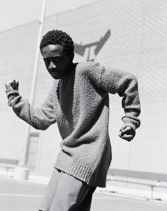Caleb McLaughlin AKA Stranger Things' Lucas Sinclair wears wool jumper Avant Toi, trousers his own