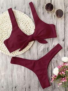 39675644d7b33 Ribbed Knot Bandeau Bikini Set