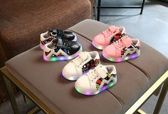 Kids  LED Light Luminous Boys Girls Elastic Casual Shoes Children Geometric patterns Flats Sneaker Soft Fashion Style x13 #Affiliate