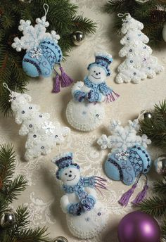 Embroidery - Snowflake Snowman Ornaments Felt Applique Kit - Set Of 6 Felt Christmas Decorations, Felt Christmas Ornaments, Noel Christmas, Handmade Christmas, Snowman Ornaments, Felt Snowman, Snowmen, Snowman Tree, White Ornaments