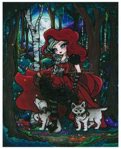 ORIGINAL PAINTING Red Riding Hood Wolf Pups Fantasy Fairy Tale Big Eye Art 11x14 Artwork by Hannah Lynn, HannahLynnArt.com