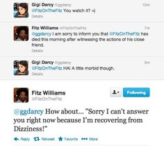 Team Figi's reactions to Dizzie Day.  The result of their hard work led to an AMAZING episode.  Although personally I think Gigi was WAY more instrumental.  I mean come on Fitz, telling Lizzy about Darcy messing with Bing and Jane?  Terrible...