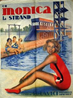 Reclame din România interbelică Retro Art, Retro Vintage, Beautiful Beaches, Beautiful Day, Vintage Beach Posters, Love Posters, Travel Brochure, Poster Ads, Beaches In The World