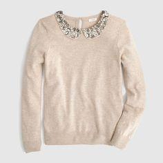 Factory jeweled Peter Pan collar sweater