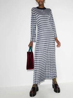 Robes Midi, White Midi Dress, Gingham Check, Mi Long, White Shop, Ankle Length, Size Clothing, Duster Coat, Women Wear