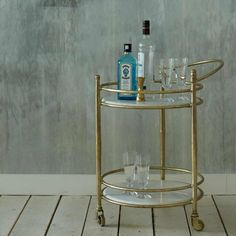 Round Drinks Trolley With Marble Shelves | Graham