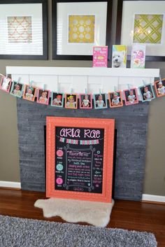 Aria's Birthday Party Project Nursery - Birthday Chalkboard & Month-by-Month Picture Timeline Baby Boy Birthday, Birthday Fun, First Birthday Parties, First Birthdays, Birthday Ideas, Cowgirl Birthday, Birthday Nails, Birthday Picture Banner, Birthday Pictures