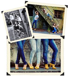Girls - jeans, a white t-shirt, awesome heels + your friends = a photo session you& never forget! Group Senior Pictures, Senior Photos, Sister Photos, Friend Photos, Group Photography, Photography Ideas, Friendship Photography, Beach Poses, Time Photo
