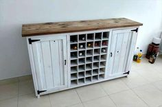 pallet bar table with bottle racks