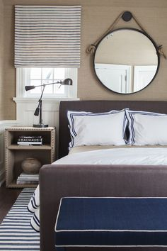 SB Long Interiors - bedrooms - taupe bed, dark taupe bed, rafia nightstand, rafia nailhead trimmed nightstand, bronze desk lamp, swing arm d...