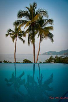 Playa la Ropa and the Catalina Hotel infinity pool, Zihuatanejo, Mexico- Via ~LadyLuxury~