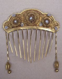 Victorian Algerian Style Hair Comb with Dangles and Faux Pearls Hair from spanishcomb on Ruby Lane