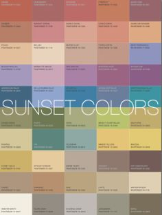 """Sunset colors: Image Via More Alive With Color: """"Based on these examples the Sunset's Signature Colors... would be golden tawny tones like Camel or Cognac. A coral pink necklace will brighten your skin and add a great accent."""""""