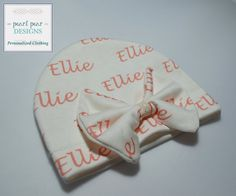 1 Personalized baby bow name hat: baby and by PearlPearDesigns
