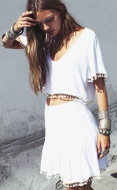 White dress, summer outfit, fashion style, boho, chic, pom-poms, silver jewellery, festival,