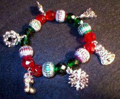 Christmas Charm Bracelet 8 inch. stretch Antiqued by RedBudCrafts, $18.00