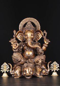 "Brass Ganesh Statue On 3 Elephant Heads 21"""