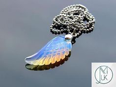 Opalite #gem#stone angel wing pendant #necklace natural chakra healing #stone,  View more on the LINK: http://www.zeppy.io/product/gb/2/222044124572/
